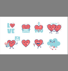 valentines day cute heart characters for valentine vector image