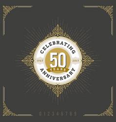 vintage anniversary flourishes logo emblem vector image