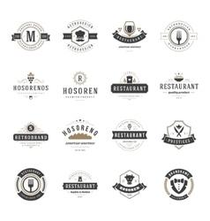 Vintage Restaurant Logos Design Templates Set vector