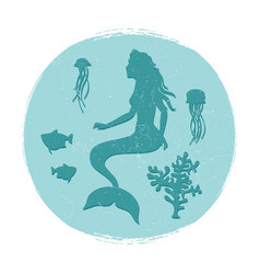 vintage underwater life label vector image