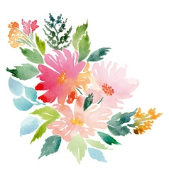 Watercolor greeting card flowers vector