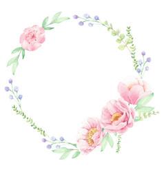 watercolor pink peony flower bouquet arrangement vector image