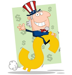 Waving Uncle Sam Riding A Dollar Symbol vector image