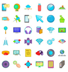 Web development icons set cartoon style vector