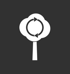 White icon on black background tree and air vector