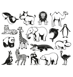 Wild animals black and white graphic silhouette vector
