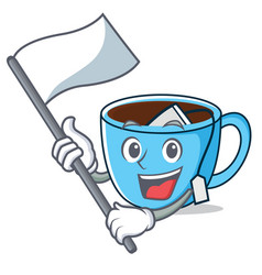 With flag tea cup mascot cartoon vector