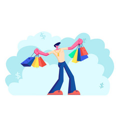 young caucasian holding colorful shopping bags vector image