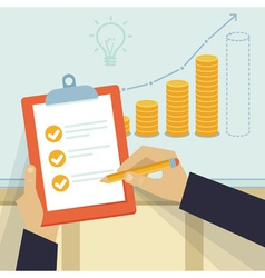 financial business plan - hand holding report and vector image vector image