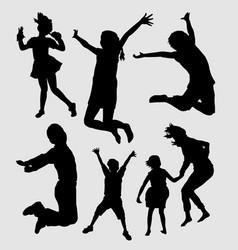happy kids playing silhouette vector image vector image