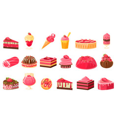 Pink sweets and desserts big set cupcakes ice vector