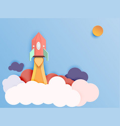 rocket ship launch paper art style start up vector image vector image