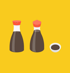 soy sauce bottle icons set vector image vector image