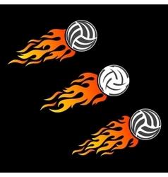 Volleyball ball flaming logo designs vector