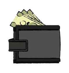Cartoon wallet banknote money safe icon vector