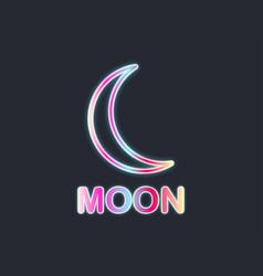moon neon sign black background vector image