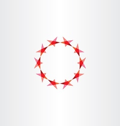 red stars icon background circle frame vector image vector image