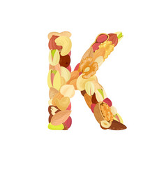 delicious letter made from different nuts k vector image