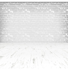 Empty white room with wooden floor and brick wall vector image vector image