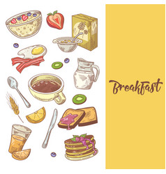 healthy breakfast hand drawn design with pancakes vector image vector image