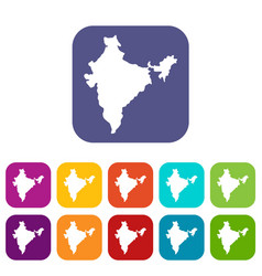 Indian map icons set flat vector