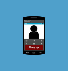 mobile phone screen is calling on blue background vector image