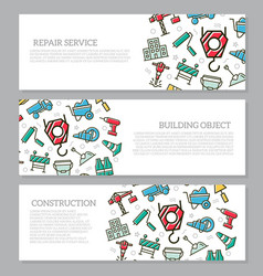 set of three digital construction horizontal vector image vector image