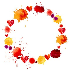 Watercolor colorful blot and heart frame vector image