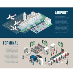 Airport isometric horizontal banners vector