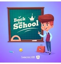 Cute boy near blackboard Back to school vector image