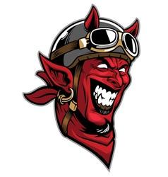 devil head rider wearing an old helmet vector image