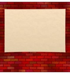 Paper sheet on brick wall vector image