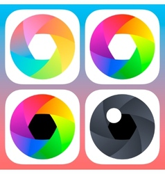 Simple flat camera objective icons for mobile iOS vector image