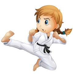 A female doing karate vector image