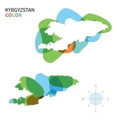 Abstract color map of Kyrgyzstan vector