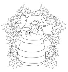 adult coloring bookpage a snowman on the vector image