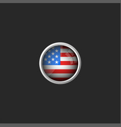 american flag round 3d icon glass material metal vector image