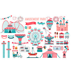 Amusement park circus and fun fair theme set vector