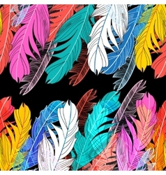 Background multicolored feathers vector