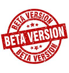 Beta version round red grunge stamp vector