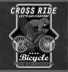 Bike emblem with grunge elements vector