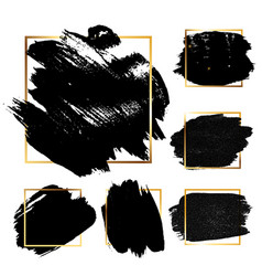 black grunge brush paint ink stroke with square vector image