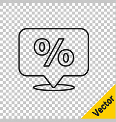 black line discount percent tag icon isolated on vector image