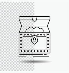 Box chest gold reward treasure line icon on vector