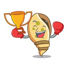 Boxing winner sea shell mascot cartoon vector