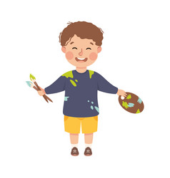 boy artist painting with paintbrush cute kid vector image
