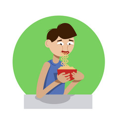 Boy slurping noodles from the cup vector