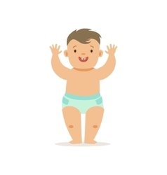 Boy Standing WIth Hands Up Adorable Smiling Baby vector image