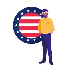 businessman american flag symbol vector image