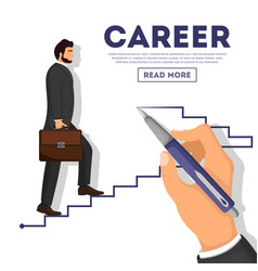 Businessman climbing career ladder poster vector